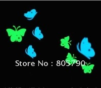 50pcs 4cm glow in dark sticker, butterfly, with single wing or pairs of wing as wish,  yellow and blue for option
