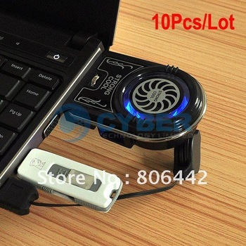 10Pcs/Lot Hot Mini Vacuum Case Cooler USB Cooling Fan for Laptop Notebook idea FYD-738 Blue LED light Free Shipping 1450