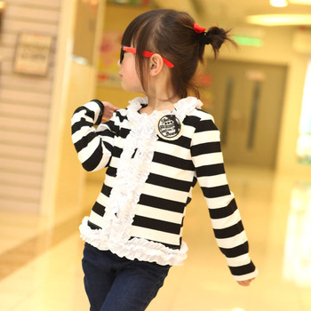 girls coat children's clothing lace stripe cardigan flower girl kids wear