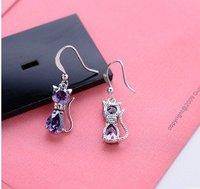 The 88129 Fashion garlet red/purple zircon 18kt white gold filled earrings free gift Zircon earrings