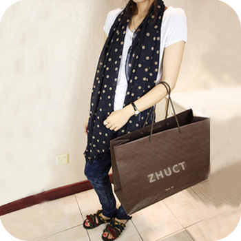 Min.order $10,mix order Ps065 fashion dot long design chiffon scarf polka dot polka dot sweet silk scarf 63g free shipping