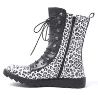 12 leopard print men's boots personality punk fashionable casual boots knee-high boots popular denim boots