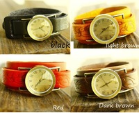Double Layers Vintage Real Leather Watch -- Black / Coffee/ Light Brown/ Red