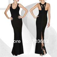 2014 cheap hot black backless celebrity party bandage dress