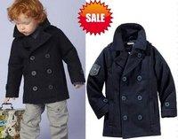 prom children boys fashion long jacket woolen coat hoody children clothing 2 line botton navy blue 4pcs/lot free shipping t48