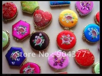 Free Shipping Satin Double sided Embroidery Flower Personalized Compact Mirrors  10pcs/pack mix color