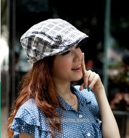 Male women's cap check summer beret new arrival Pure cotton beret peaked cap
