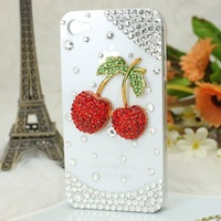 Free shipping/New Fashion Bling Crystal Rhinestone Hard phone Cover Case for iphone4/4S lovely cherry,3 colours  Stamping shell