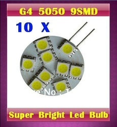 10 X G4 5050 SMD 9 led 9 smd Marine Camper Car Bulb Lamp 12V =cool white +Warm White(China (Mainland))