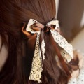 H0159 Jewelry 1566  double layer ribbon lace hair accessory big bow hairpin hair pin horsetail clip candy hair accessory T-2.8
