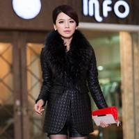Genuine Sheepskin Leather Raccoon Fur Jacket Coat  Women Clothing Slim Black Wholesale Retail OEM FS9927087 Top