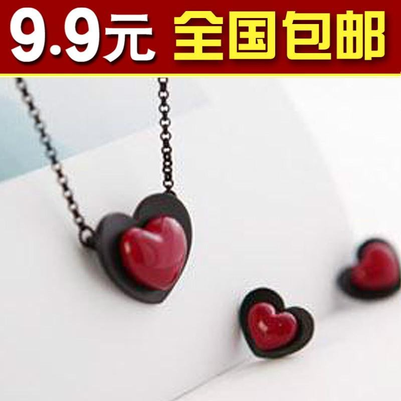 Hot new 1818 big accessories red stereo peach heart necklace double layer stereo love necklace(China (Mainland))