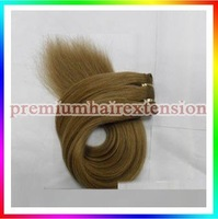 "DHL FREE 16""18""20""22""24""26"" human hair weft extensions machine weft remy hair extensions # 10 medium golden brown 100g/pc 3pcs"
