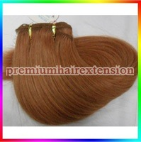 "factory outlet  DHL FREE 16""18""20""22""24""26"" hair weft extensions machine weft hair extensions # 30  medium auburn 100g/pc 3pcs"