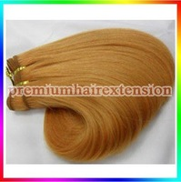 "high quality 14""16""18""20""22""24""26"" machinie weft hair extensions remy human hair extensions # 27 dark blonde 100g/pc 4pcs"