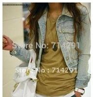 New Korea design women casual denim jacket lady vintage long sleeve short outerwear fashion tops coat free shipping