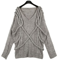 Free Shipping 2012 New arrival autumn elegant loose sweater High Quality Ladies' Plus Size Pullover Sweater 121017#11