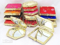 10pcs/lot Free Shipping Unique Compact Mirrors Wedding Favors Silk Printed Double sided  mix color