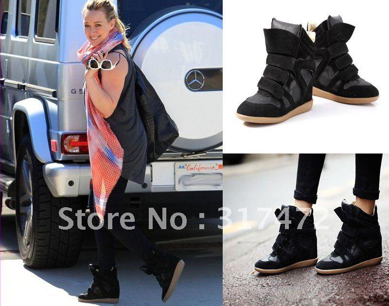 Black Fashion Sneakers Women Fashion Black Ladies Hidden