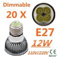 20pcs Dimmable LED High power E27 Base 4x3W 12W led Light led Lamp led Downlight led bulb spotlight FREE FEDEX and DHL