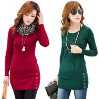 fall 2014 sweater women AUTUMN o-neck autumn and winter fashion women's medium-long sweater basic shirt sweater with a scarf
