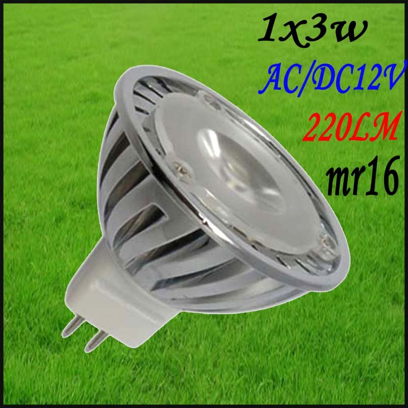 30pcs/lot Free shipping Led Spotlight 1x3w mr16 AC12v DC12v high quality led spot lamp bulb promotion spot lighting(China (Mainland))