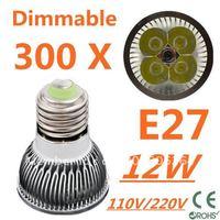300pcs Dimmable LED High power E27 Base 4x3W 12W led Light led Lamp led Downlight led bulb spotlight FREE FEDEX and DHL