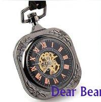 6pcs/lot  Art Deco Geometrical Black Square Pocket Watch , Roman numeral Mechanical Pocket Watch