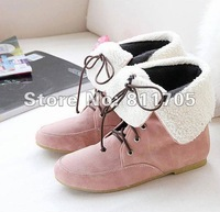 New arrival round toe flat ankle boots lady's two way fur short snow boots drop ship wholesales Special price 342