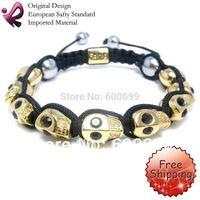FREE SHIPPING Rainso Crystal Skull Bracelet Shamballa Bracelets Wholesale Skull Beaded Bracelet SHA-050G