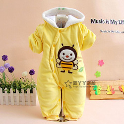 Cartoon newborn baby clothes velvet thermal romper one piece wadded jacket outerwear(China (Mainland))