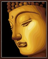Golden Buddha Framed Oil Painting DIY Paint by Numbers 50x40cm (20x16'') PBN JC7071