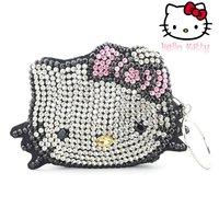 NEW Fashion Hello Kitty Hand Crochet PVC A class Diamond hand bag bling stones shoulder bag Cosmetic bag Elegant