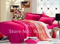 deep pink coral omber color cotton duvet quilt covers set 4pc for home textile Full/Queen comforter bedding sets 4pc bedlinen