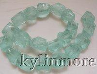 8SE07073a 15x20mm Blue Quartz Rough Beads 15''