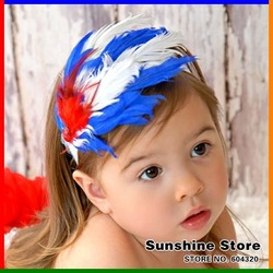 Sunshine store #2B2242 3 pcs/lot 2012 new style baby headband children blue white red feather headband christmas headwear CPAM(China (Mainland))