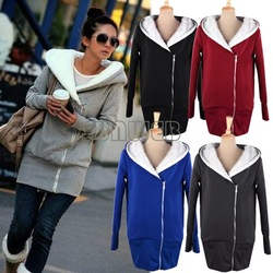2013 Korea ladies Hoodie Coat Jacket Sweatshirts Warm Outerwear hooded Zip Cotton + Polyester Wholesale M L XL.XXL 3269(China (Mainland))