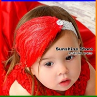 Sunshine store #2B2243  3 pcs/lot 2012 new style baby headband children red feather headband christmas headwear elastic CPAM