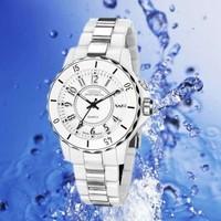 New OHSEN Men's White 8 LED Light Analog Business Quartz Wrist Band Sport Type Lovers Watch ,Women Dress Watches ML0213