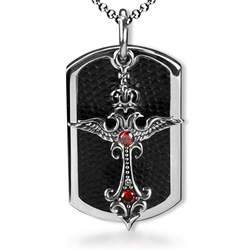 Bahamut Heraldic Emblem Angel Crown Cross Dog Tag Necklace Pendant Free With Chain - Titanium Steel(China (Mainland))