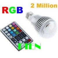 Hot selling 9W GU10| E27 RGB LED Light Bulb Lamp Over 2 million Colors+Remote Control Free shipping 1pcs/lot