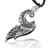 Bahamut  The Wing of Angel Pendant Necklace Men's Jewelry 925 Sterling silver necklace
