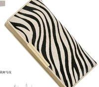 4131-3  New arrival designer leather+horse hair wallet,hotsale zebra cow leather purse,wholesale&retail