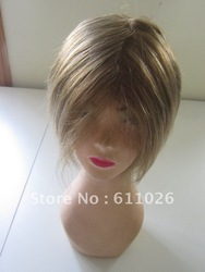 Popular Short Style Brazilian Remy Hair #12 Regular Straight Pu Around Full Lace Wigs With Baby Hair(China (Mainland))