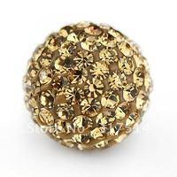 Free shipping 100pcs/12mm Light Colorado Topaz Shamballa Crystal pave Beads