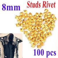 100шт 9,5 мм золотой цвет металлическая пуля заклепки шипы стад панк мешок пояса leathercraft аксессуары diy dropshipping