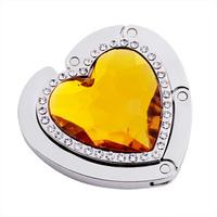 elegant heart shape alloy+acrylic  foldable bag hanger/handbag hooks/bag holder 5669 mix colors 20pcs/color