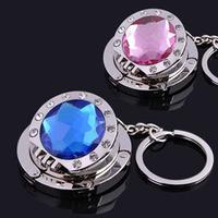Fashion mirror keyring bag hook,alloy+acrylic foldable key ring purse hangers/bag holder 18pcs/lot mix colors,