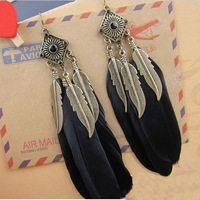 E004T  Vintage gold leaf blue feather earrings 2013 fashion drop long earrings for women  TJ-4.99 30D