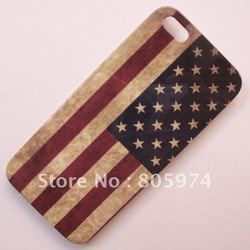 Brand New Retro Old USA United States America Flag Hard Case Back Cover For iPhone 5 5G Free shipping(China (Mainland))